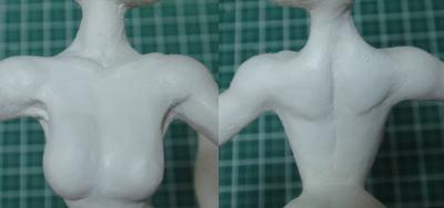 緋山千夏のフィギュアを作ってみる 胸の表面処理 サーフェイサーを吹き付けた状態
